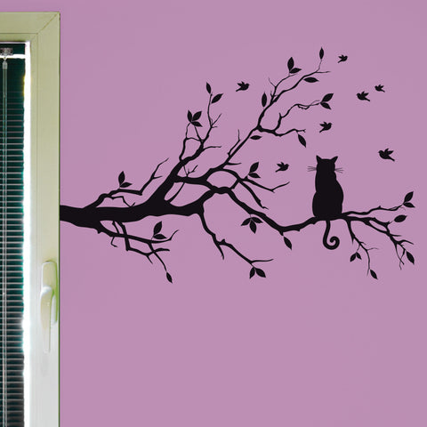 Cat In A Tree Wall Decal, 0243, Cat Wall Sticker