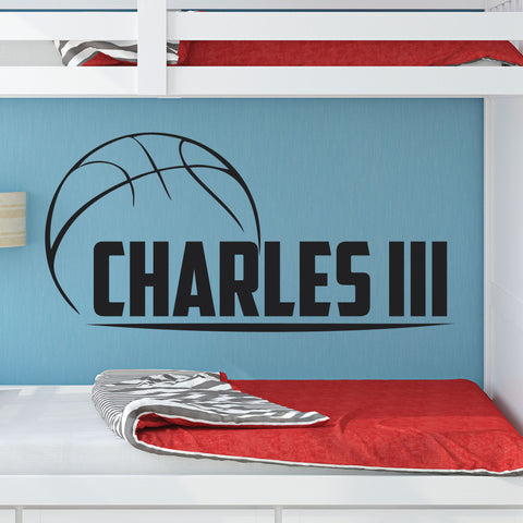 Custom Boys Name Basketball Wall Decal, 0262, Personalized Basketball Wall Decal