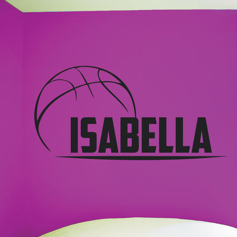 Custom Girls Name Basketball Wall Decal, 0263, Personalized Girls Basketball Wall Decal