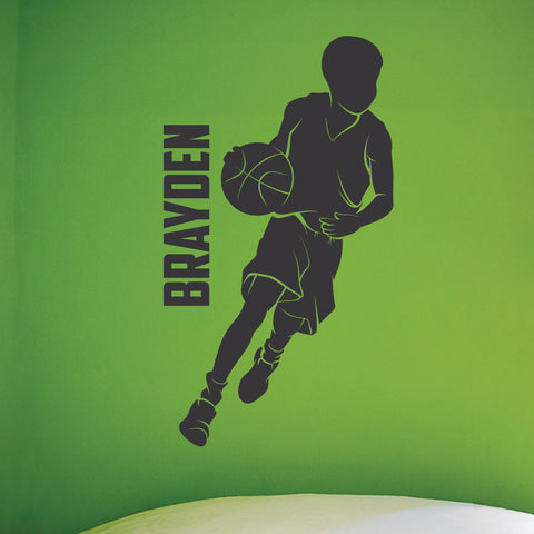 Custom Name Basketball Wall Decal, 0264, Personalized Basketball Player Wall Decal