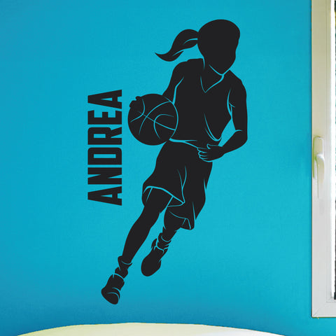 Custom Girls Name Basketball Wall Decal, 0265, Personalized Girls Basketball Wall Decal