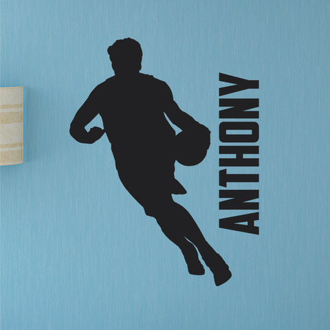 Left Handed Basketball Player Custom Name Wall Decal, 0266, Lefty, Dribbling, Wall Sticker
