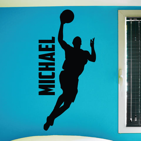 Custom Boys Basketball Wall Decal, 0267, Personalized, Basketball Player