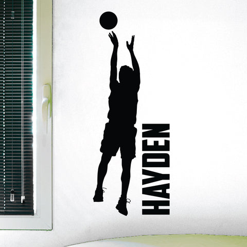 Custom Name Boys Basketball Wall Decal, 0268, Personalized, Basketball Player