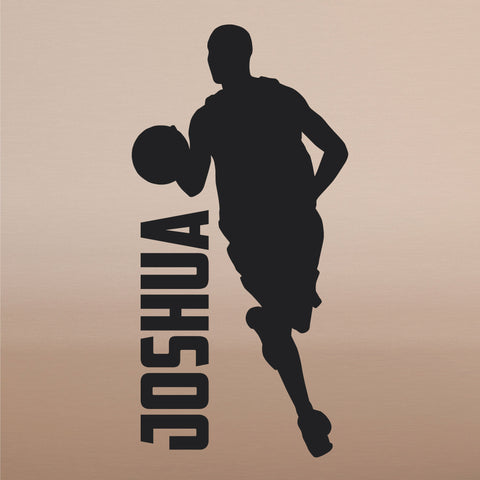 Custom Name Boys Basketball Wall Decal, 0269, Dribbling, Basketball Player Wall Art, Personalized