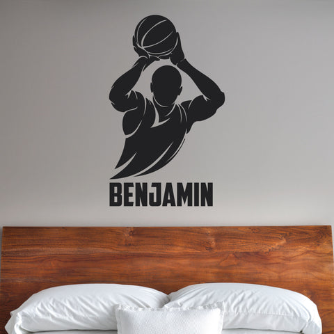 Boys Basketball Custom Name Wall Decal, 0271, Free Throw, Wall Graphic, Basketball Player
