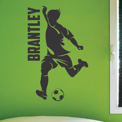Custom Boys Name Soccer Wall Decal, 0274, Personalized Boys Soccer Wall Decal, Dribbling, Kicking