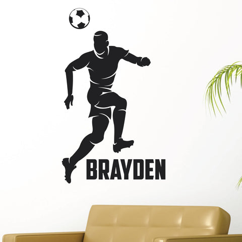 Boys Custom Name Soccer Wall Decal, 0275, Personalized Boys Soccer Wall Decal