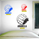Custom Girls Name Volleyball Sticker, 0277, Personalized Girls Volleyball Wall Decal, Outside Hitter, Spike