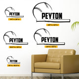 Custom Name Baseball Wall Decal, 0279, Softball Wall Decal