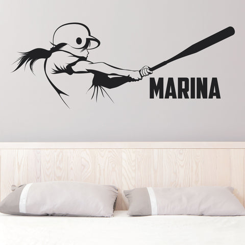 Custom Girls Softball Wall Decal, 0281, Personalized Girls Softball Decal, Batter, Hitter