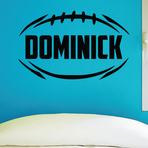 Custom Boys Name Football Wall Decal, 0283, Personalized Boys Football Wall Decal, Football