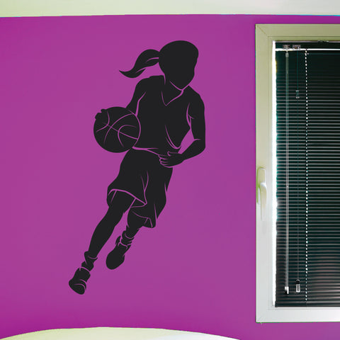 Girls Basketball Wall Decal, 0290, Ladies Basketball