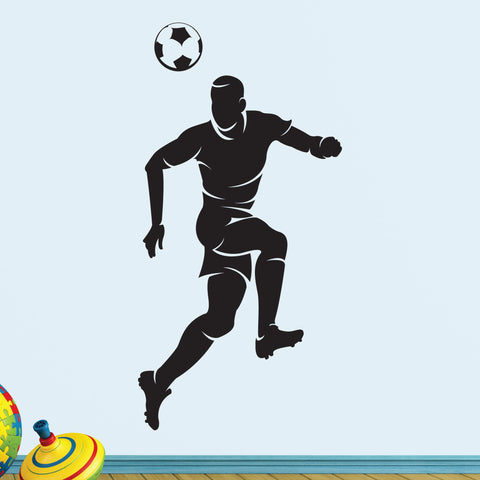 Boys Soccer Heading Ball Wall Decal, 0295, Head, Futbol