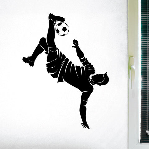 Boys Soccer Kick Wall Sticker, 0296, Soccer Player, Bicycle Kick, Futbol, Wall Decal