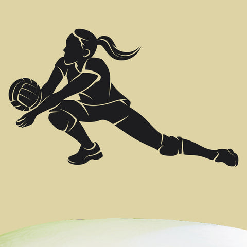 Girls Volleyball Wall Graphic, 0298, Bump, Volleyball Theme Decal, Ladies Volleyball, Dig