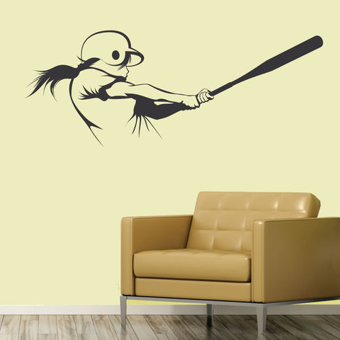 Girls Softball Hitter Wall Sticker, 0299, Hitter, Batter, Softball Player Wall Decal