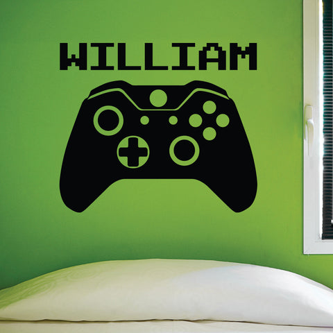 Video Game Custom Name Wall Decal, 0306, Video Game Controller, Gamer