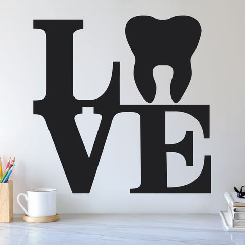 Love Tooth Wall Decal, 0348, Dental Office Wall Decal