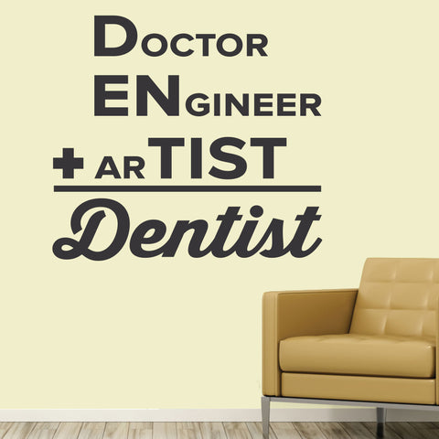 Dentist = Doctor + Engineer + Artist Wall Decal, 0359, Dental Office Wall Decal