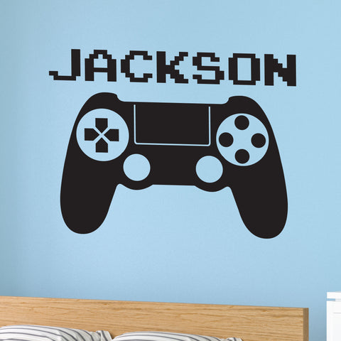 Video Game Custom Name Wall Decal, 0415, Video Game Controller