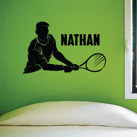 Personal Name Tennis Wall Graphic, 0430, Personalized Boys Tennis Wall Decal,