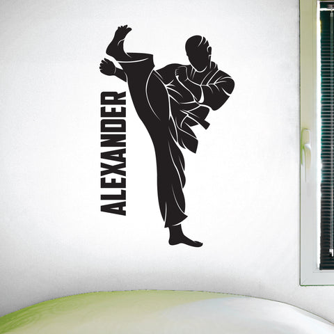 Custom Name Martial Arts Wall Decal, 0431,Personalized Boys Martial Arts Wall Decal