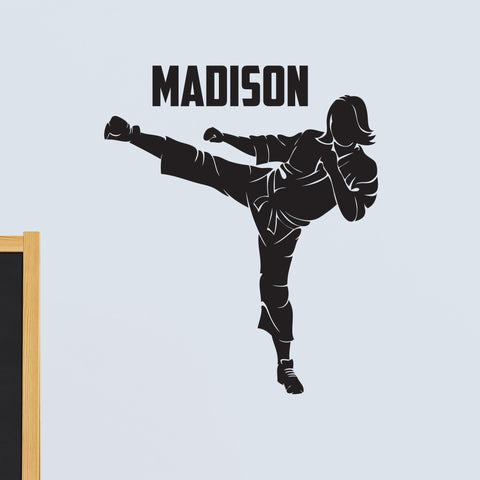 Girls Custom Name Martial Arts Wall Decal, 0432, Personalized Girls Karate Wall Decal, Martial Arts