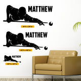 Pool Player Wall Decal, 0435, Personalized Pool Player Wall Decal, Billiards