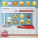 "Emoji Wall Decals - 12"" tall - Emoticon 12 Set - 0440"