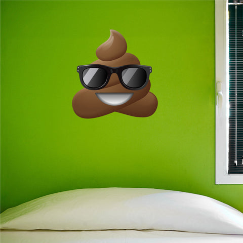 "Poo Emoji Sunglasses Wall Sticker - 27.5""h x 26.5""w - Large Emoji Sticker- 0442"
