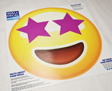 "Star Eyes Emoji Wall Graphic - 28""h x 28""w - Large Emoji Wall Decal - 0446"