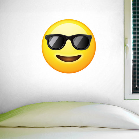 "Sunglasses Emoji Wall Decal - 28""h x 28""w - Large Emoji Wall Decal - 0447"