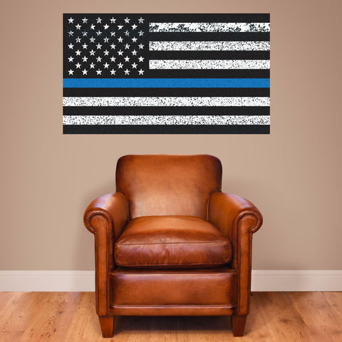 "Thin Blue Line American Flag Distorted Wall Decal Sticker - 0453 - 28""h x 48""w"
