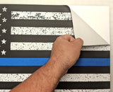 "Thin Blue Line American Flag Distorted Wall Decal Sticker - 0454 - 14""h x 24""w"