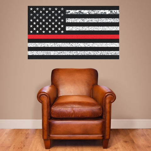 "Thin Red Line American Flag Distorted Wall Decal Sticker - 0455 - 28""h x 48""w"