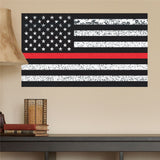 "Thin Red Line American Flag Distorted Wall Decal Sticker - 0456 - 14""h x 24""w"