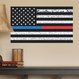 "Thin Blue Line & Thin Red Line American Flag Distorted Wall Decal Sticker - 0458 - 14""h x 24""w"