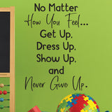 Never Give Up - 0481 - Classroom Decor - Wall Decor - Back to school - Teach Child - Classroom Decal