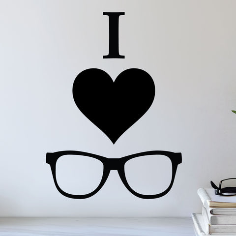 I love glasses - I heart glasses wall sticker
