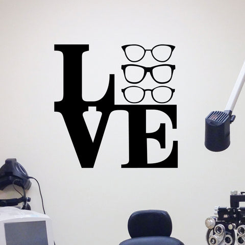 Love Glasses Wall decal for eye doctor office