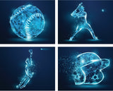 baseball wall art, 4 pack wall decals