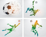 soccer wall art, 4 pack wall decals