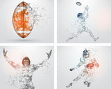 football wall art, 4 pack wall decals