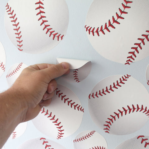 Baseball Wall Stickers. Just peel and stick. Image of peeling baseball wall decal off the wall.