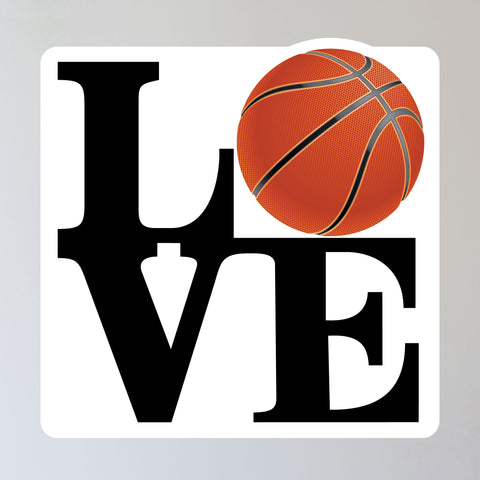 "LOVE Basketball Wall Sticker, just peel and stick to any smooth wall. Size is 11""h x 11""w"