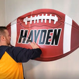 "Large Football Wall Sticker, Custom Name, 28""h x 48""w, 0568"