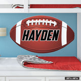 "28""h x 48""w custom name football wall decal"