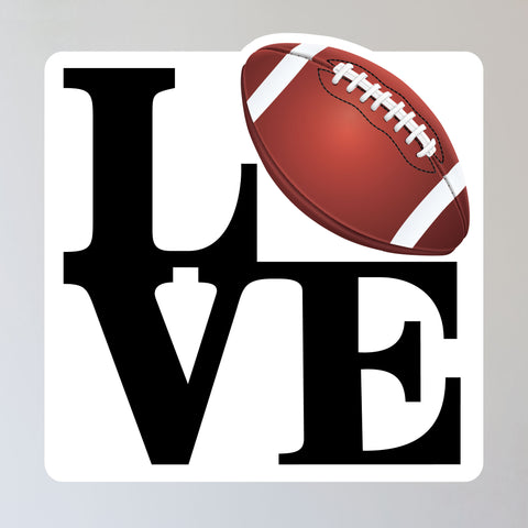 "Love Football Wall Sticker, 11""h x 11""w"
