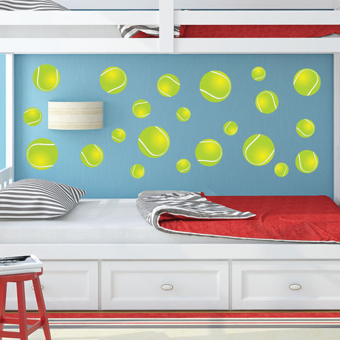 Tennis Ball Wall Stickers for you bedroom. Apply to any smooth wall. Qty of 22 Tennis Stickers.